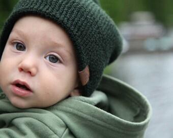 waffle Beanie - Forest Green - Kids Beanie - Slouchy Beanie - Kids Hat - Hipster beanie - Hipster Hat