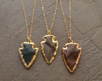 Gold and Jasper Arrow Head Necklace - Arrow Necklace - Long Layering Necklace - Gold Dipped Necklace