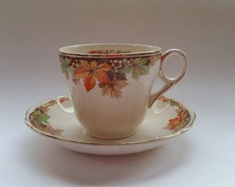 Vintage cup and saucer, Grindley Autumn leaves tea cup and saucer