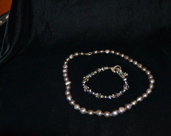 Black Freshwater Pearl necklace and bracelet set