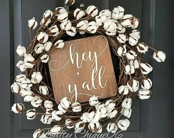 Cotton Wreath; Hey Ya'll Wreath; Year Round Wreath