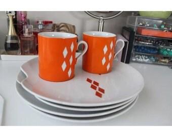 Mid Century Atomic 50s Retro Plate & Mug Set