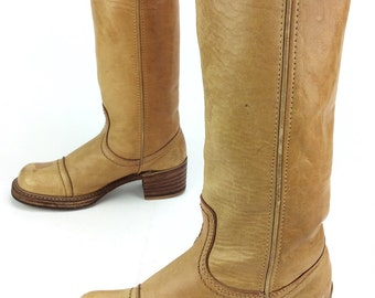 Women's Vintage Bort Carleton Tall Knee High Camel Tan Leather Cap Toe Campus Western Boots Sz. 8