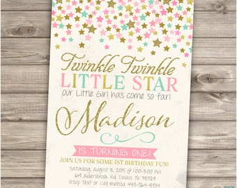 Twinkle Twinkle Little Star Birthday Invitations Shabby Pink Mint Teal Gold Glitter Party girl First Birthday Invitations NV1103