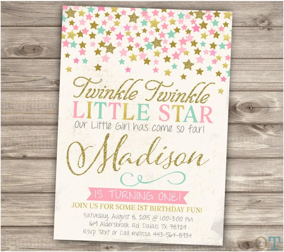 Twinkle Twinkle Little Star Birthday Invitations Shabby Pink
