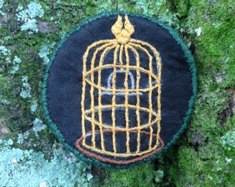 Hand Embroidered Bird Cage Patch