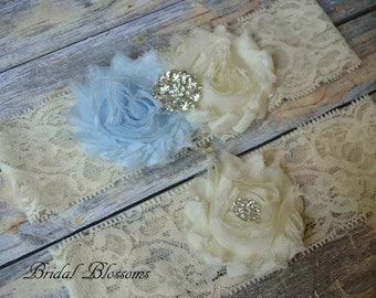 Something Blue Ivory Bridal Garter Set | Chiffon Fabric Flower Lace Garter | Rhinestone Wedding Garter | Stretch Lace Garter | Plus Size