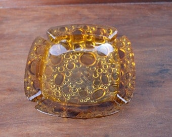 Vintage Mid Century Gold/Amber Bubble Ashtray - Four Rests