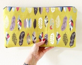 Canvas clutch Feathers