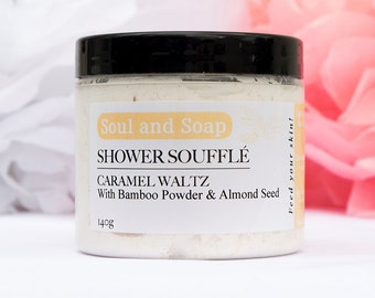 Caramel Shower Soufflé for Face and Body  - Handmade Body Wash - Skin Moisturizer For Sensitive Skin - Whipped Mousse - Body Cleanser - Eco