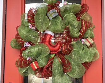 Christmas Mesh Ribbon Wreath
