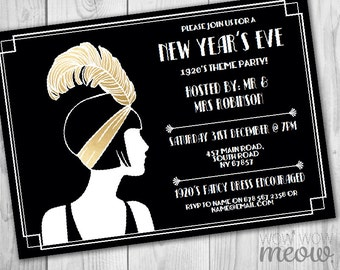 New Year's Eve Gatsby Party Invitations Black Gold Roaring Twenties 1920s Invites Printable INSTANT DOWNLOAD NYE Editable Printable Digital