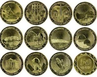 "Coins Armenia Set 11x50 dram coins 2012 "" Armenian Regions"" UNC"