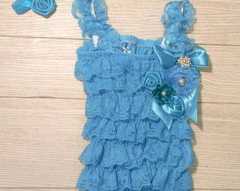 SALE--Blue Petti Lace Romper and Headband- Baby Girl Lace Petti Romper- Girls Lace Romper-Toddler Lace Romper- Infant Romper