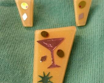 Martini brooch & earring set