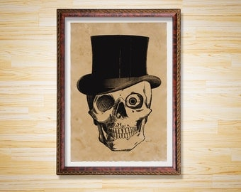 Skull print Anatomy illustration Skeleton poster