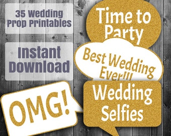 35 Gold Wedding Photo Booth printable photo booth props, wedding diy glitter props, wedding photobooth speech bubbles, digital download