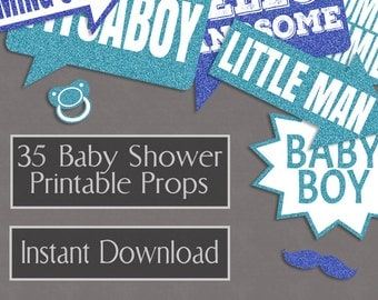 35 Baby Boy Printable Props, Printable Baby Shower photo booth props, blue glitter shades, baby shower diy party ideas instant download S1E4