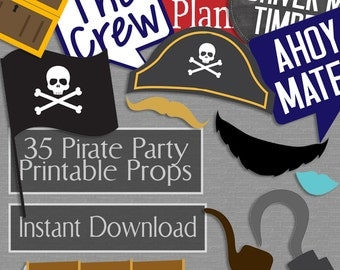 35 Pirate Party Photo Booth Props, Pirate Props, Pirate hats, items and phrases, nautical props, pirate party ideas, instant download props