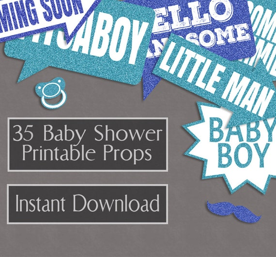 35 baby boy printable props printable baby shower photo booth props