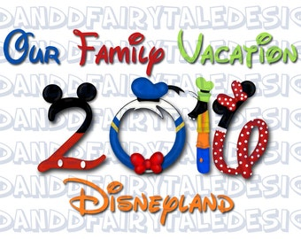 Our Disneyland Family Vacation 2016 Themed Digital Art Letters Printable DIY- Instant Download