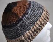 Alpaca Winter Hat. Hand knit, mostly hand spun with stripes. Beanie, toque, watch cap, ski cap, knit hat, warm
