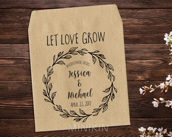 Personalized Seed Packet, Seed Favor, Wedding Favor, Kraft Seed Envelope, Seed Packet, Let Love Grow Favour, Rustic Wedding Favor x 25