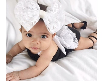 Little Black Baby Romper with White Lace Ruffle Back - Sunsuit - Also available in all white - see images