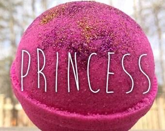 Princess Bath Bomb - hot pink, glitter, lavender vanilla geranium & jasmine floral essential oils, moisturizing, girly, slumber party favor