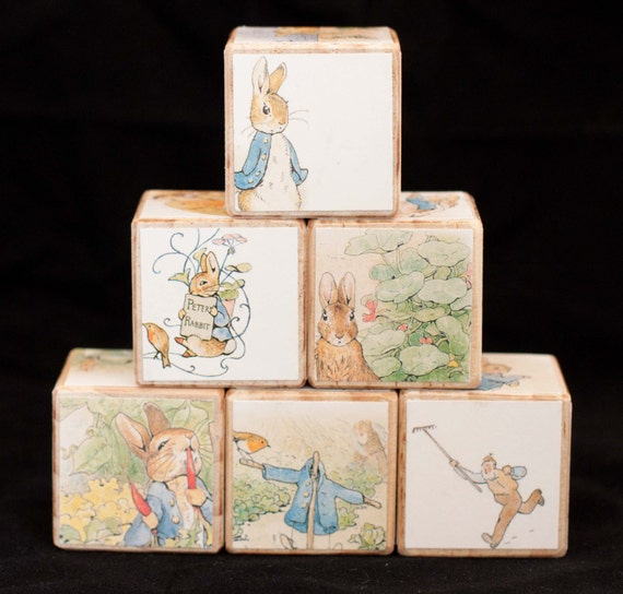 Wooden Blocks Peter Rabbit Nursery Decor Boy By Barneyandboo