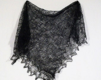 Russian Orenburg Lace Knitted Shawl, Black