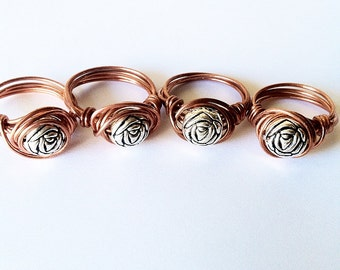 Rose Design Wire Ring
