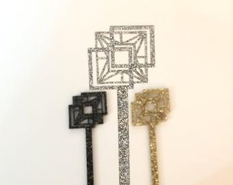 Geo Tile Swizzle Sticks Geo Shapes,Modern Bar Cart,Drink Stirrer,Perfect Weddings,Cocktail Sticks,Bridal Shower,Stir Sticks,Midcentury,6 Pk