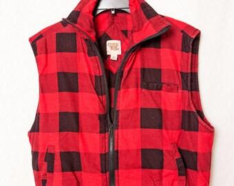 Ozark Trail Lumber Jack Puff Vest, Red Plaid Cotton Puff Vest, Vintage Buffalo Plaid Christmas Puff Vest, Medium Lumber Jack Puff Vest,