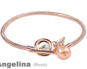 1 rose color Bracelet with freshwater pearl