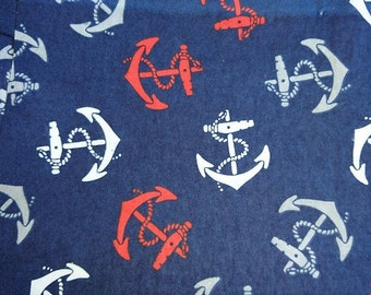 "Flannel fabric anchors, anchors on a blue background, 100cm (1 m) (39 "")"