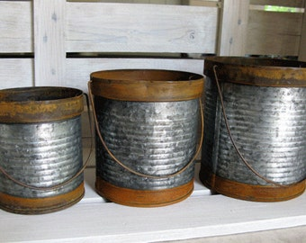 The set of 3 Rusty and Galvanized Metal Containers - Antique Metal Vase - Farmhouse Metal Bucket