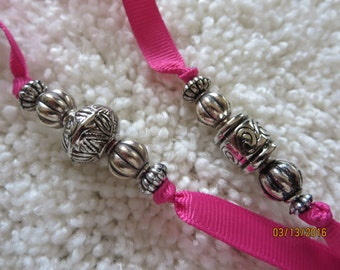 Beaded Bookmark on Pink Grossgrain Ribbon