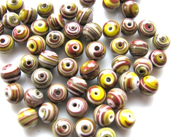 Glass beads, 23 beads, 6mm, striped beads, burgundy and yellow - 568