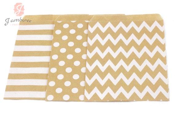 5x7 Kraft Brown Treat bags in Chevron Dot and Stripe , Kraft Brown Rustic Treat Bags, Candy Chevron Bags, Kids Girls Birthday, Paper Bags