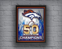 Denver Broncos Art, Denver Broncos Poster, Peyton Manning, Super Bowl 50 Champion Broncos, Sports, Map, Vintage, Super Bowl 50  Broncos