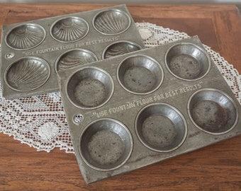 """Pair Vintage """"Fountain Flour"""" Patty Cake/Madeleine/ Cake Tins/Trays"""