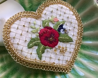30% OFF - Hand Embroidered brooch - needle painting and beadwork - Pansy