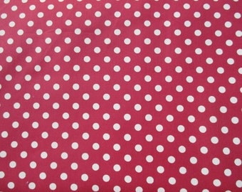 Red with Cream Dot Cotton Fabric