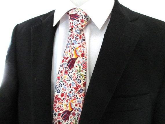 Floral Necktie ~ made in Strawberry thief in gray and duck egg blue colorway ~ men's tie ~ necktie ~ cravat WD29wP