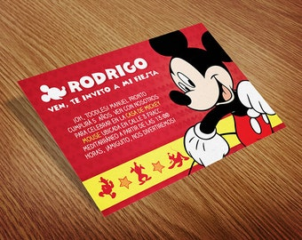 Mickey Mouse Printable Birthday Invitation Card (Red)