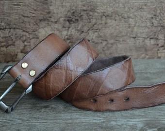 Mens Belt , Leather Belt ,  Heavy Duty Belt , Distressed Rugged Cowskin Belt , Brown , Unique