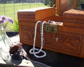 Vintage Tooled Leather Train Case