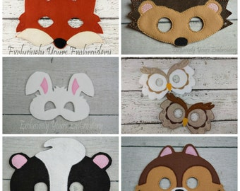 6 Piece Woodland Animal Children's Felt Mask Set  - Costume - Theater - Dress Up - Halloween - Face Mask - Pretend Play - Party Favor