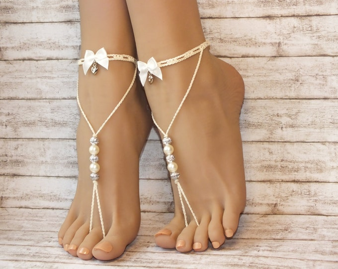 Ivory barefoot sandals-Wedding accessory- Footless sandals Beach jewelry-boho barefoot sandals-sexy barefoot sandals-Wedding shoes